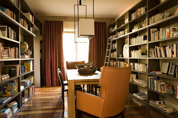 Small-Wood-Dining-Room-with-Bookcase