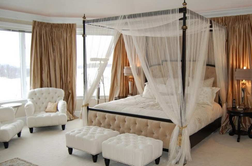 Canopy Bed With Sheer Cotton Curtain