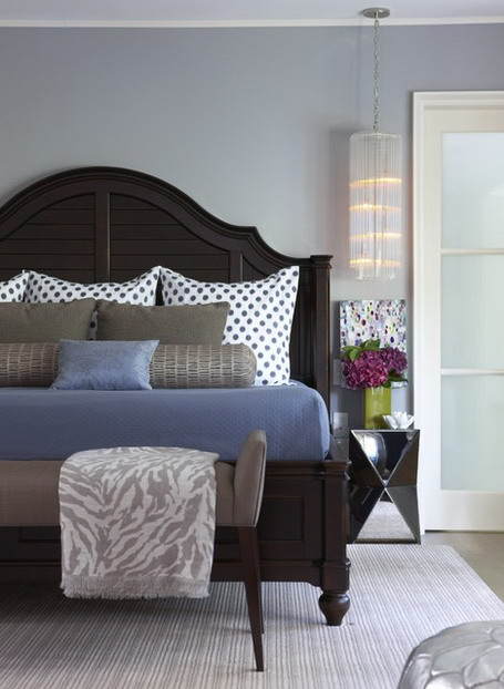 Dark Wooden Bedding Sets and Grey Wall Themes in Modern Bedroom Design Ideas