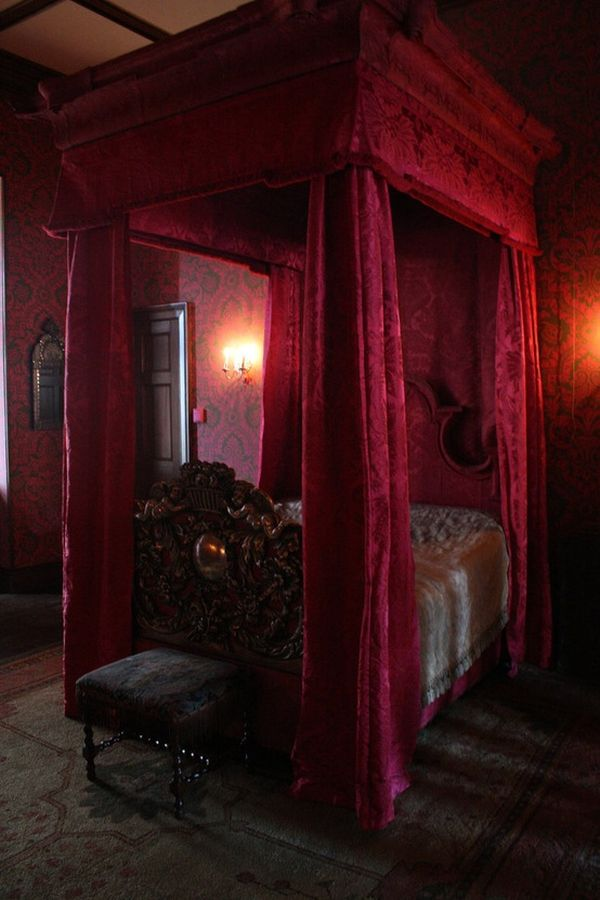 Gothic canopy bed curtains