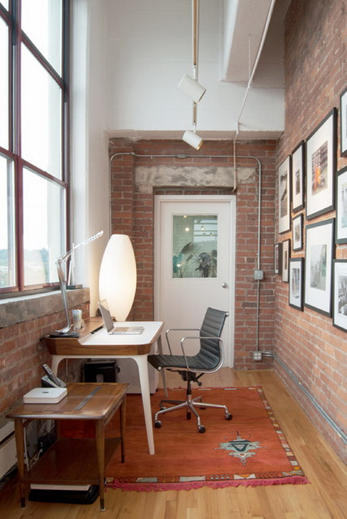 Industrial-Brick-Wall-in-Small-Home-Office-Furniture-Design-Ideas