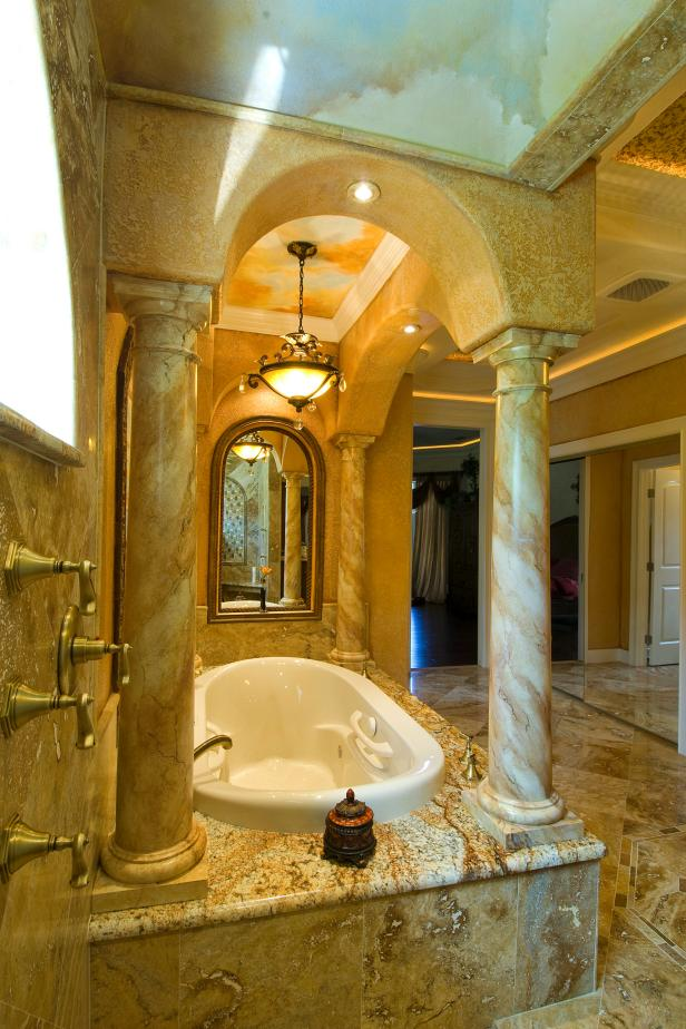 Tuscan Master Bathroom With Grand Stone Columns