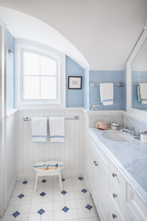 beautiful-small-bathroom-designs-white-wainscoting-panels-blue-wall-color