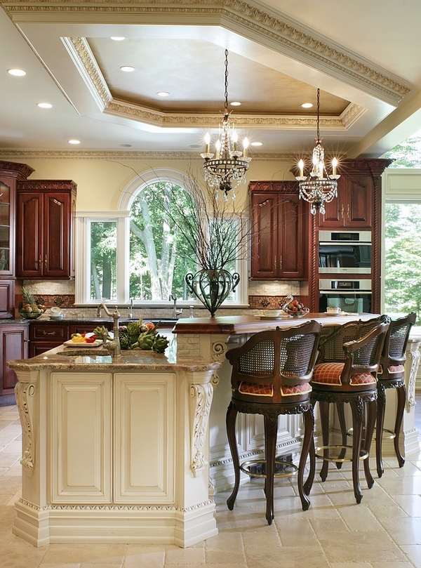 ceiling-design-ideas-recessed-lighting-small-crystal-chandeliers-kitchen-island