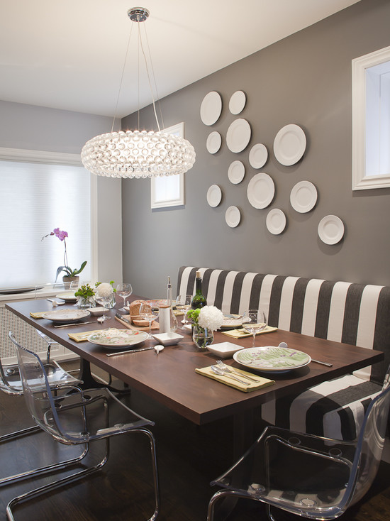 contemporary-dining-room-with-grey-wall-and-decorative-plates