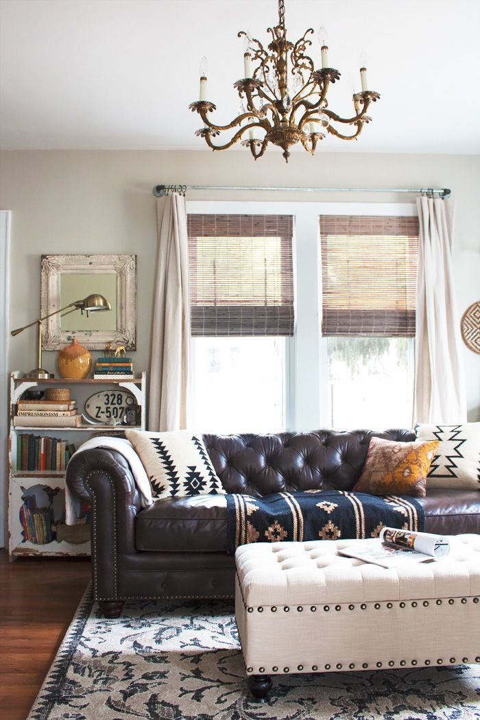 living room redo with tufted sofa