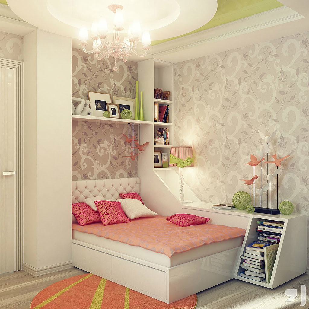 stylish-and-charming-girls-bedroom-interior-with-beautiful-wallpaper