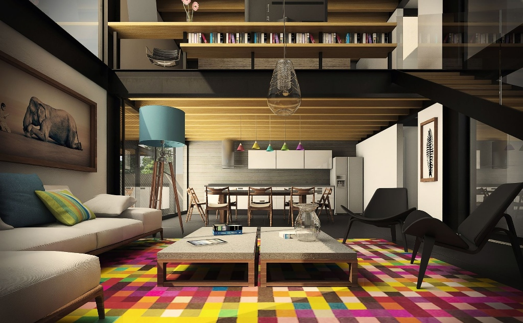 Colorful Modern Urban Living Room