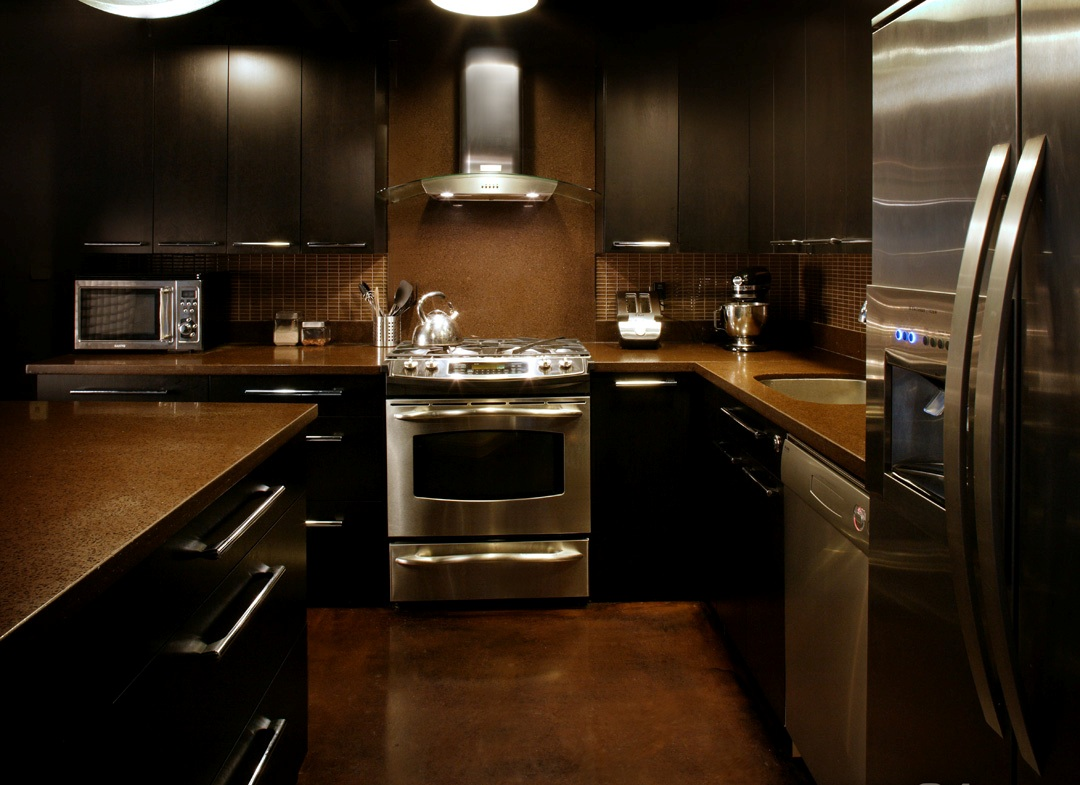 Dark Tone Kitchen with Stainless Steel Appliances
