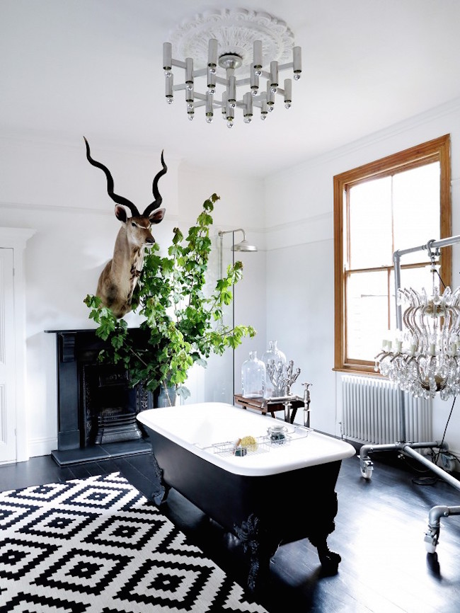 Eclectic Bathroom with Black Clawfoot Tub