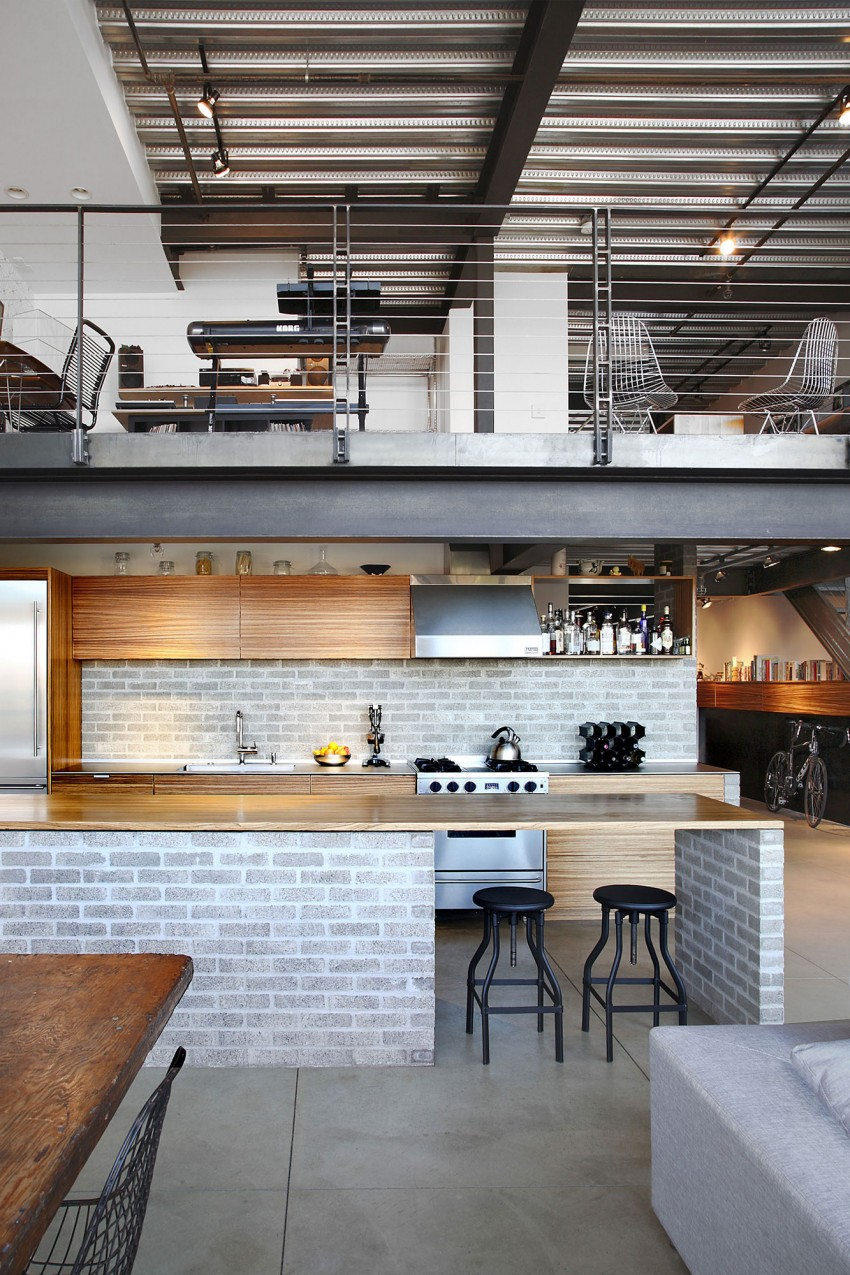 Industrial-style Bachelor Pad Loft