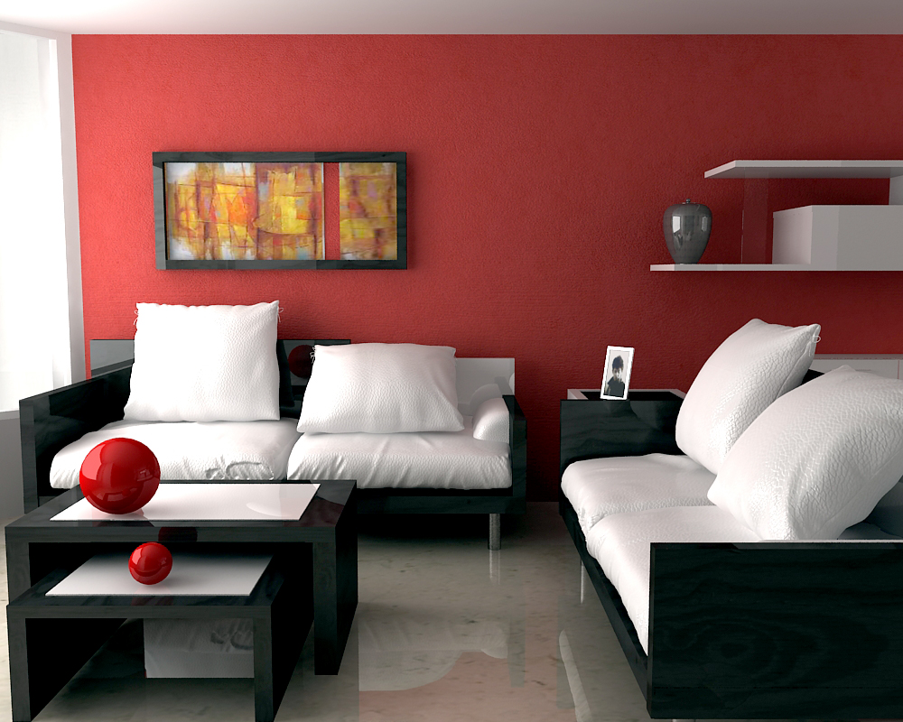 Modern Living Room Red White Interior