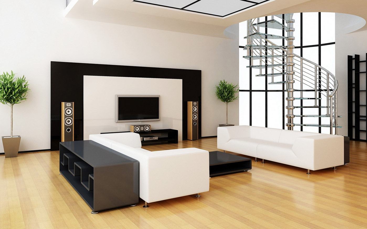 Modern Living Room with Hardwood Floors