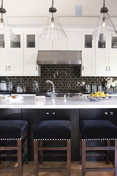 Modern black subway tiles