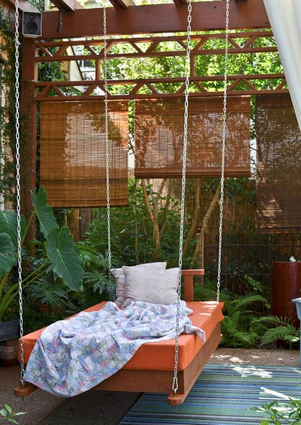 Outdoor Swing with Orange Mattress
