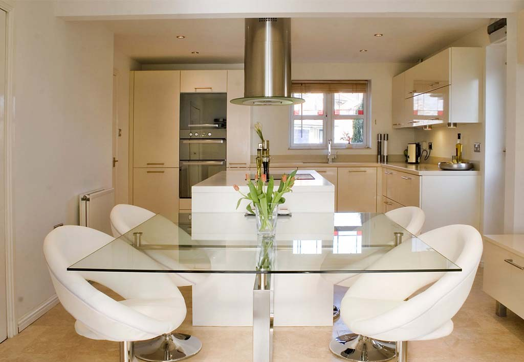 Sleek Dining Table inside Kitchen