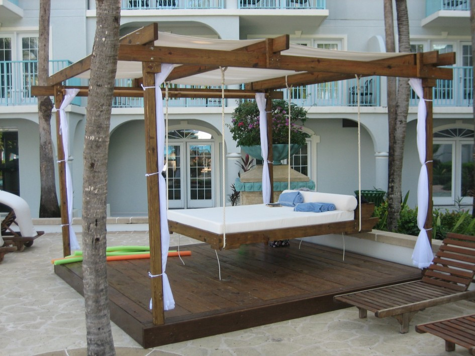Teak Wood Hanging Swing Bed