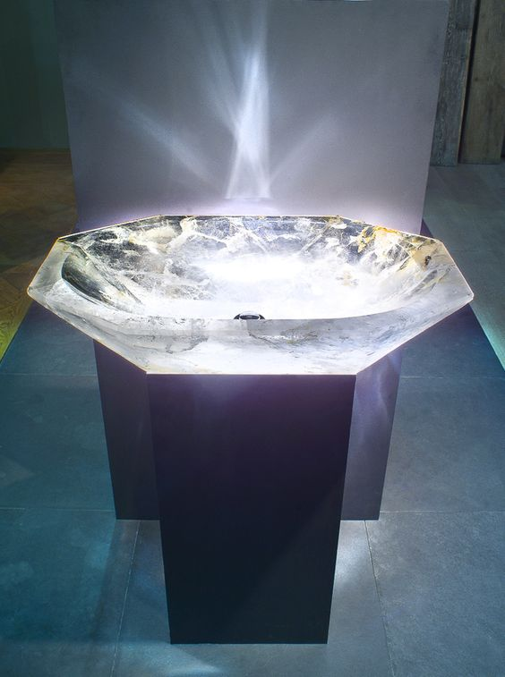 Unique transparent stone sink