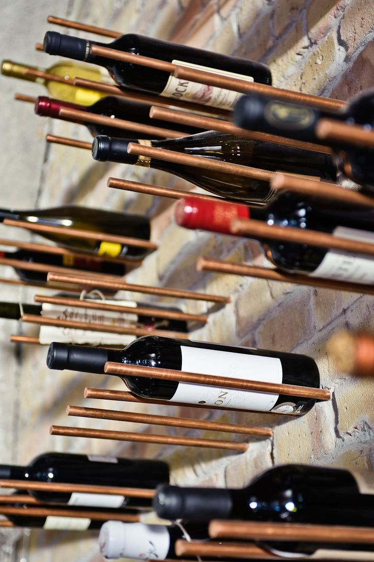 creative Copper rod wine rack idea