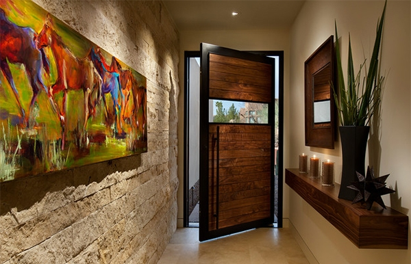 Beautiful contemporary door with lovely painting at entrance