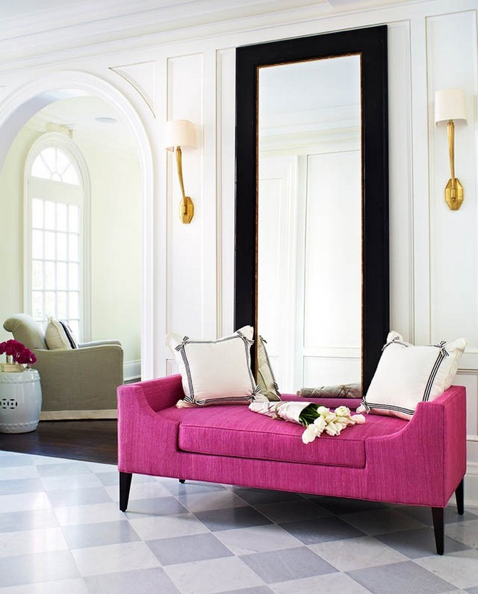 Beautiful pearl white color featuring contemporary bright furniture