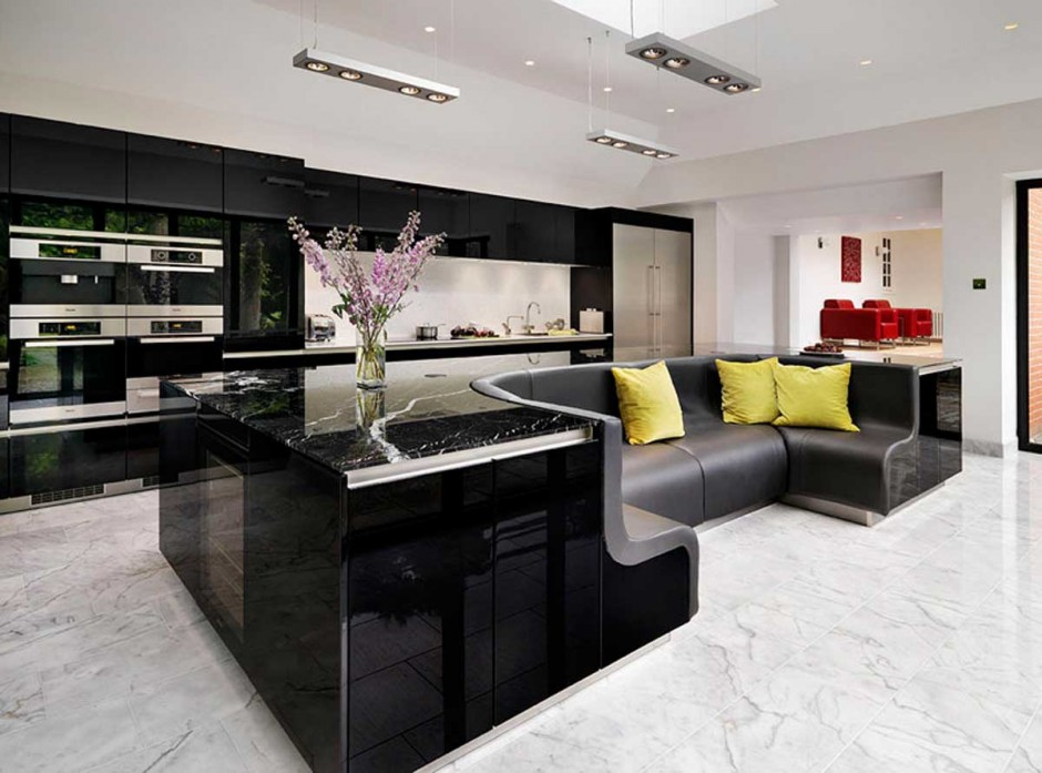 Black contemporary kitchen design with built in sofa