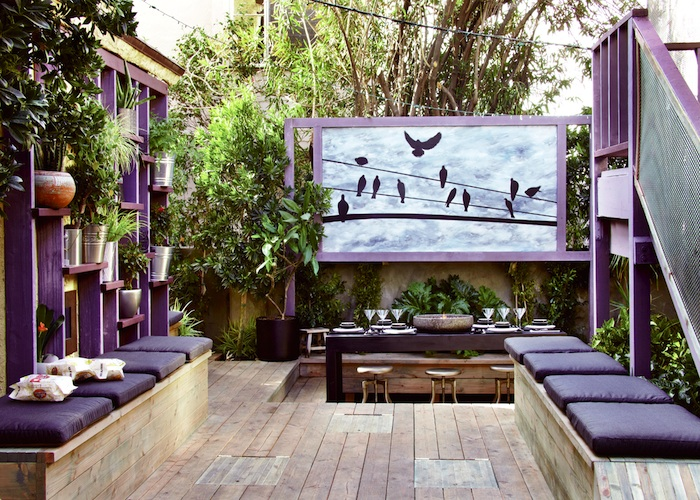 Colorful outdoor patio design with beautiful dining on wooden flooring