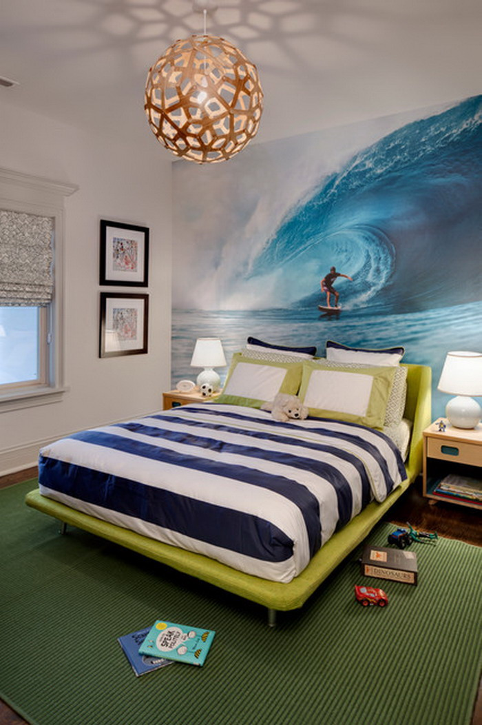 Eclectic Kids Bedroom with Beach Surf Wall