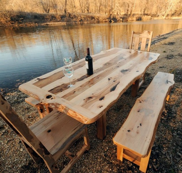 Furniture Unique Outdoor Dining Set Idea With Light Brown Wooden Dining Table With Black Bottle Plus