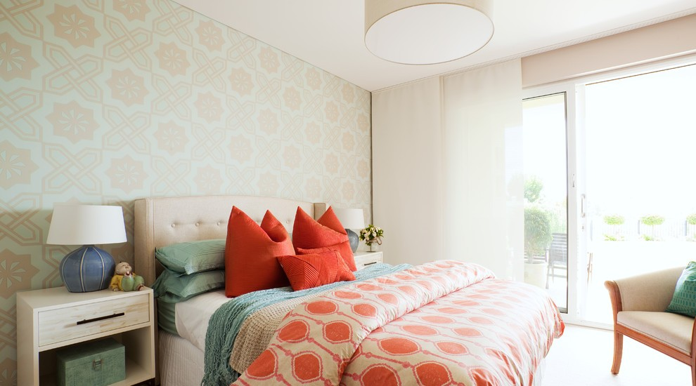 Gorgeous-Bright-Coral-Eclectic-Bedroom