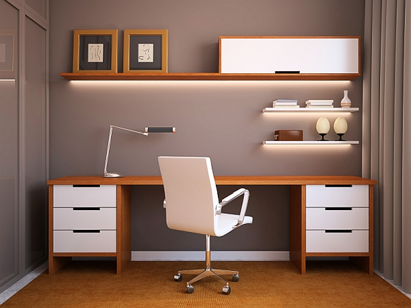 Home-office-design-idea-with-sleek-wooden-surfaces-and-minimalistic-overtones