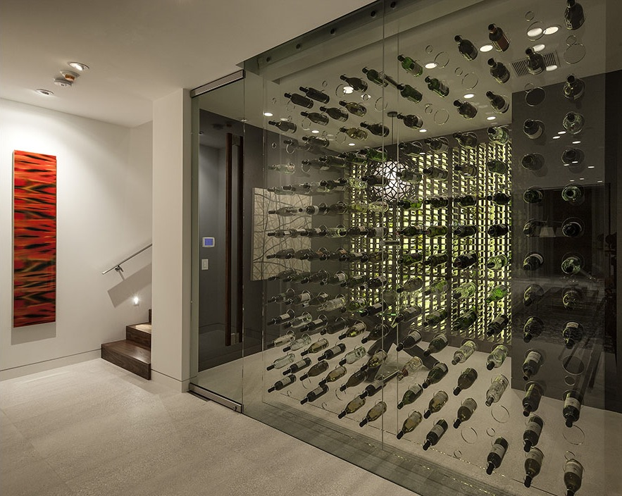 Modern glass wine cellar design