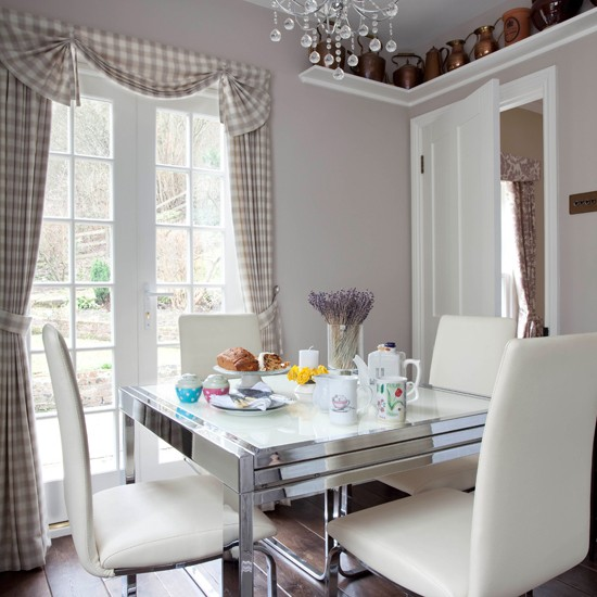 Modern traditional grey dining room