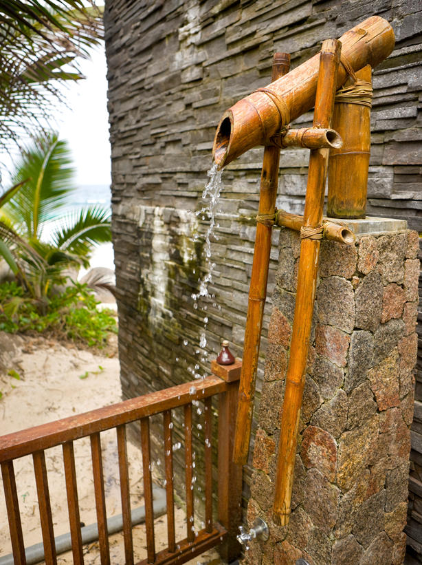 Rustic Outdoor Bamboo Shower