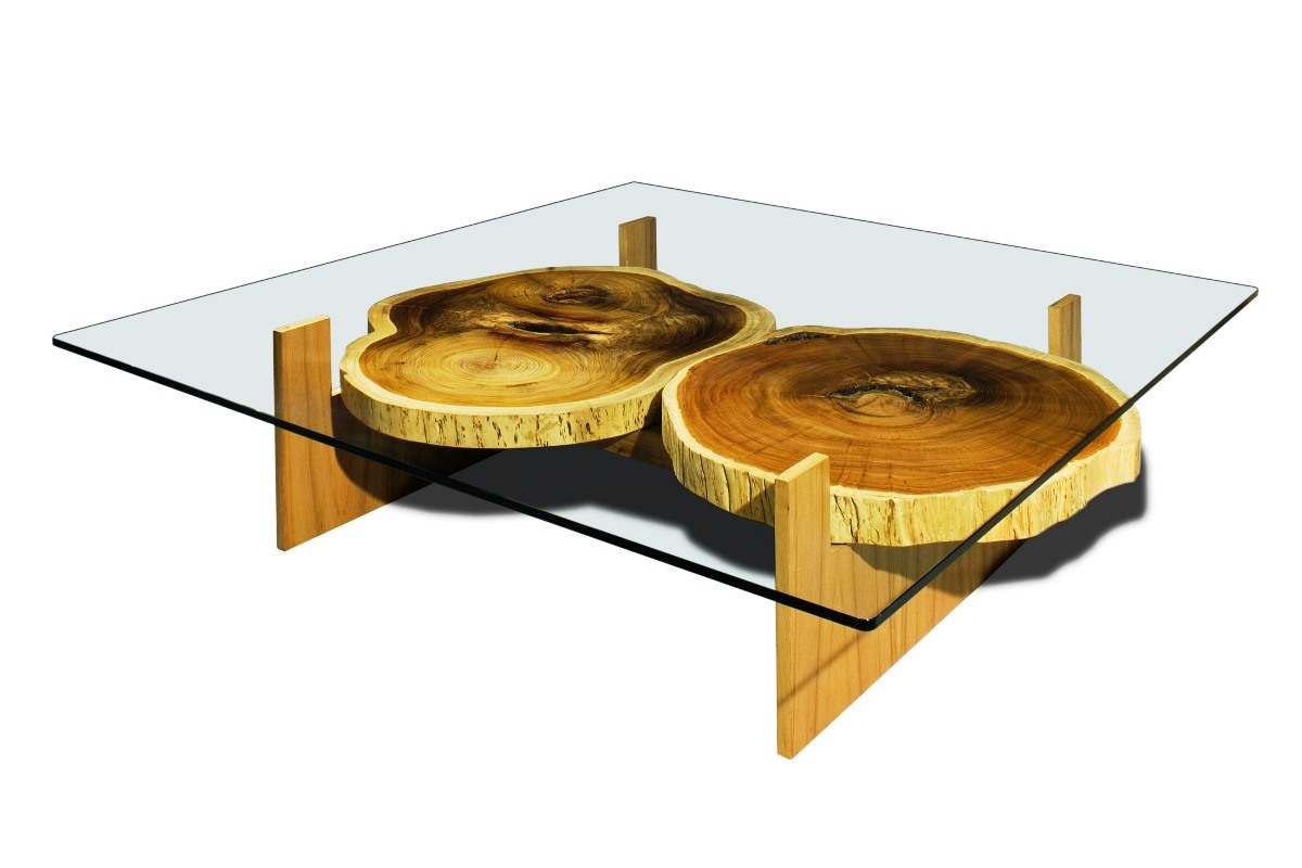 Rustic Wood Coffee Table with Glass Top