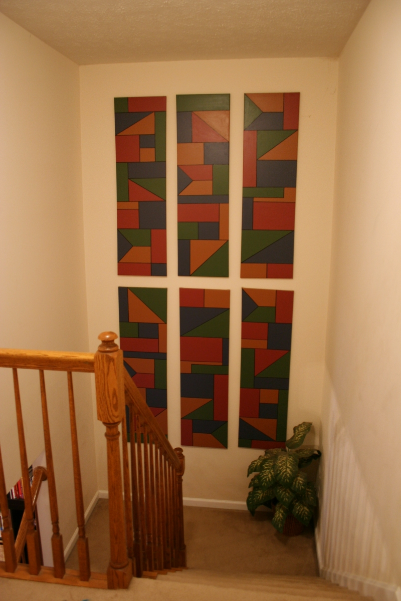 Stairway wall with custom art canvas