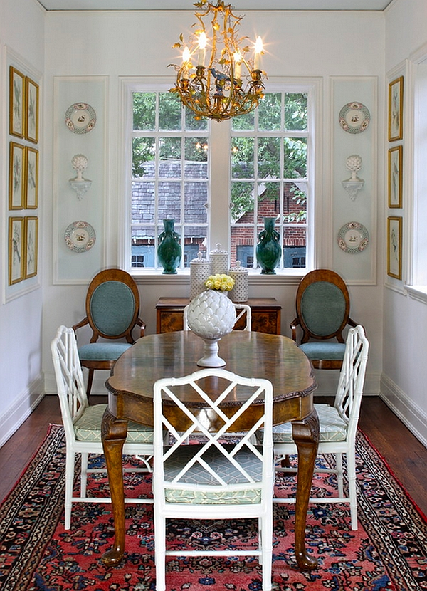 Traditional dining room with additional seating space