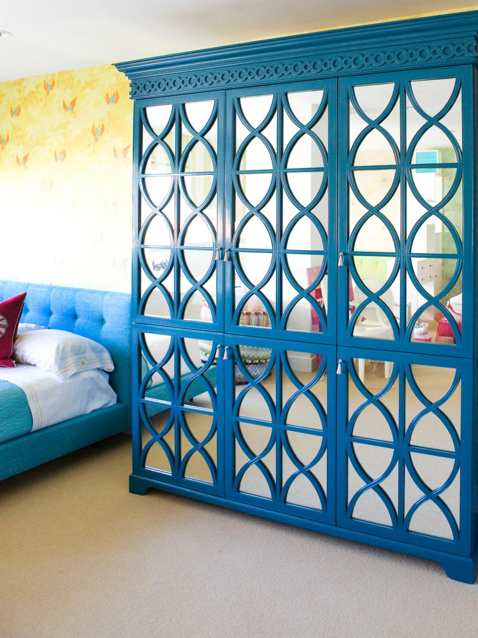 Turquoise mirrored blue armoire