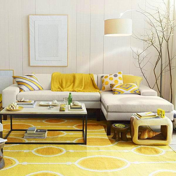 Yellow walls, painting ideas for bedroom decorating, creamy white-green-yellow color combination