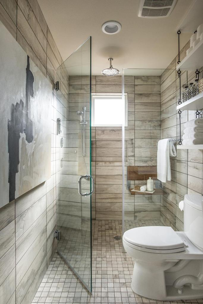 bathroom with subway tiles and grey granite