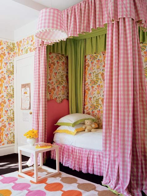 checks and colorful bedroom