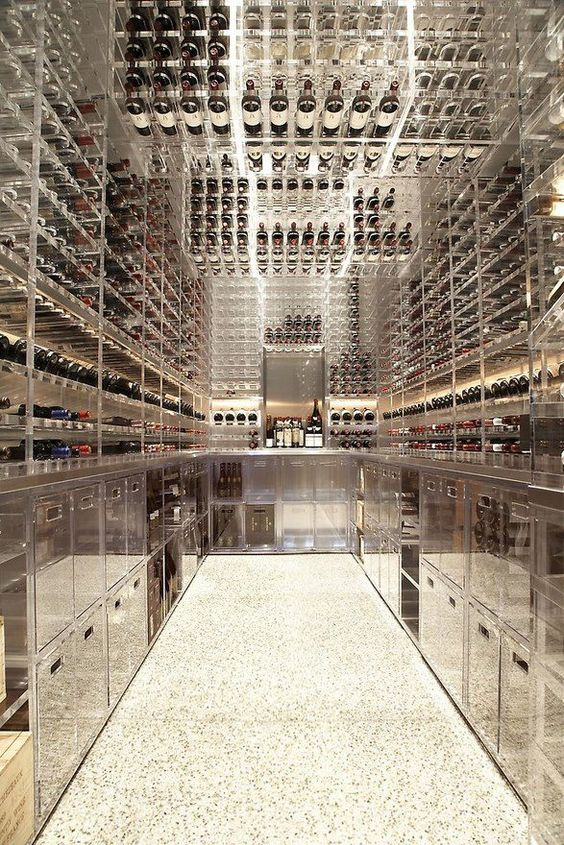 glass and steel enclosede wine cellar
