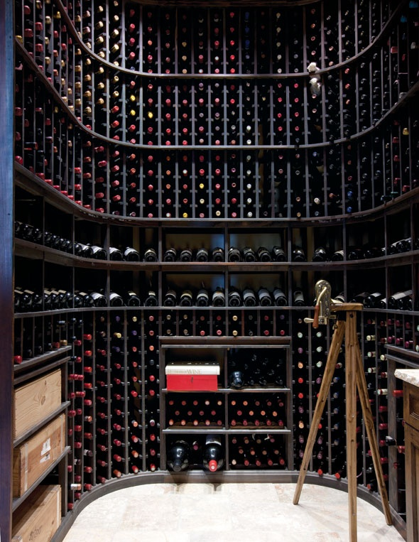 small modern wine cellar