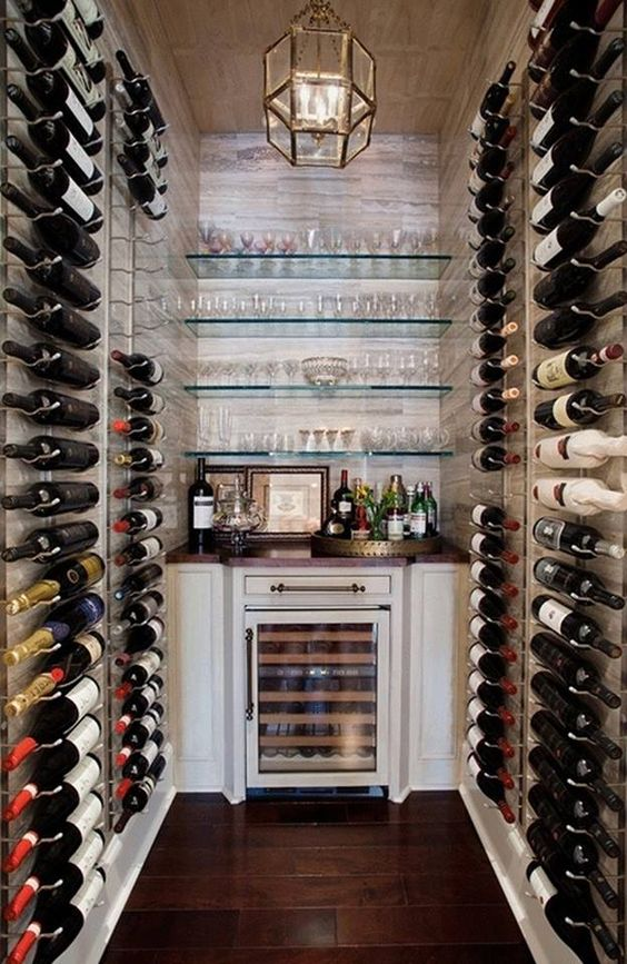 wine cellar with table