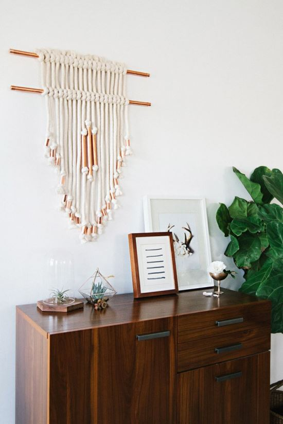 Copper pipe wall hanging