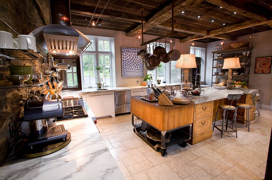 Eclectic farm home with vintage industrial kitchen
