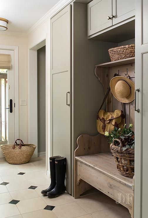Gray Green Mudroom