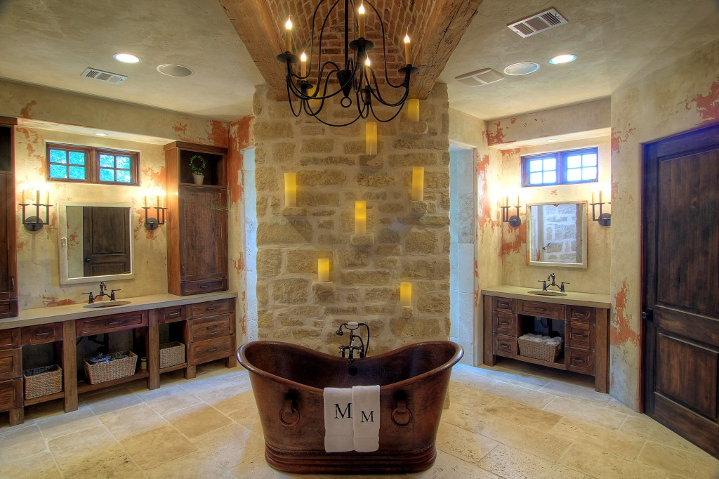 Mediterranean Bathroom Design with cooper bathtub