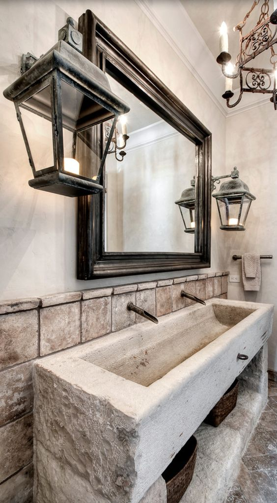 Mediterranean Bathroom with tuscan style decor