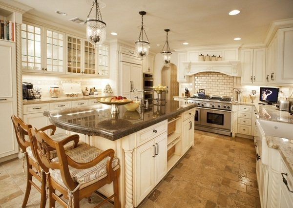 Mediterranean kitchen design ideas tile flooring white kitchen cabinets